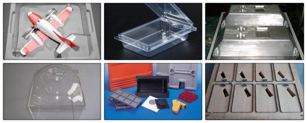 Foto com 6 peças entre elas peças feitas em facuum forming, molde e faca de corte vinco.